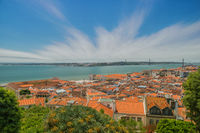 Panoramic view of Lisbon city and Tagus river