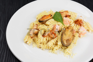 Seafood Pasta with mussels salmon and shrimps