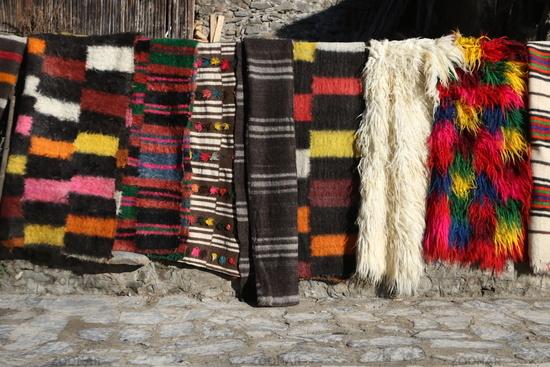 Colorful rugs in the Rhodope village of Shiroka Luka, Bulgaria