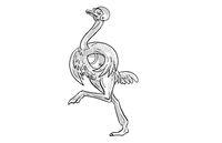 Ostrich Running with American Football Cartoon