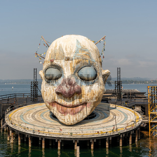 view of the Open Air Theater in Bregenz with the Verdi's Rigoletto Opera Stage