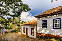 Cobblestones street with old houses in colonial architecture in Tiradentes