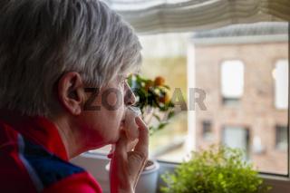 Seniorin am Küchenfenster