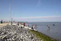 People at the Promenade and at the wadden sea