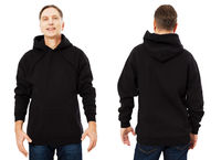 Happy man in template mens black hoodie sweatshirt isolated on white background. Man in blank black sweatshirt hoody with copy space and mockup for design logo print, Front and back view.