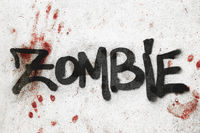 ZOMBIE word on bloody wall