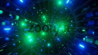Glowing neon glass tunnel color changing 3d illustration background wallpaper