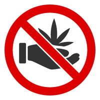 Flat Raster No Cannabis Offer Icon