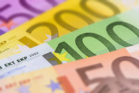 Euro banknotes show wealth and success