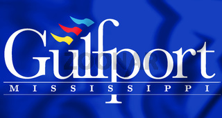 3D Flag of Gulfport (Mississippi), USA. 3D Illustration.