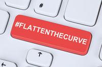Flatten The Curve hashtag stay at home Corona virus coronavirus healthy health computer keyboard