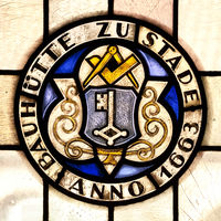 Seal of the Bauhuette, stained glass window from 1663 in the town hall, Stade, Germany, Europe