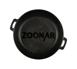Cast iron frying pan isolated on white