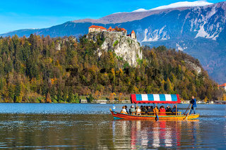 Bled, Slovenia view with castle and boat