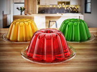 Jelly in the plate standing on the kitchen table. 3D illustration
