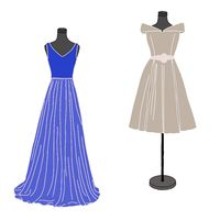 Fashion illustration: two dress forms with dresses