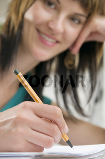 writing and smile