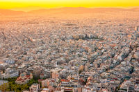 Yellow Sunset Over the Rooftops of Athens