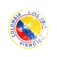 Colombia sign, vintage grunge imprint with flag on white