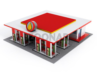 Gas station painted with red and white colors
