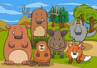 wild mammals animal characters group cartoon illustration