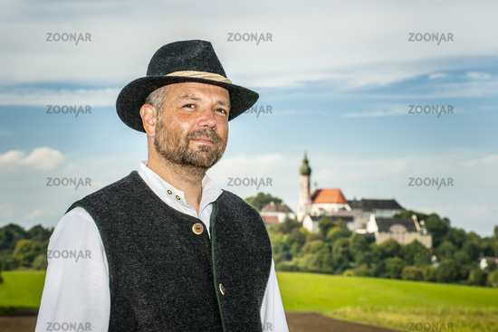 Traditional Bavarian man with Andechs
