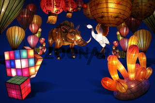 Decorate the variety lanterns on the blue backgroun