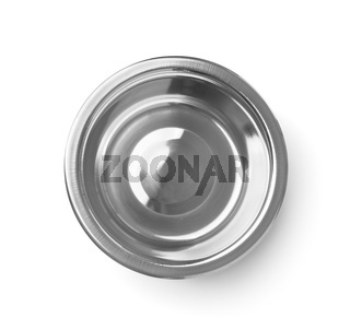 Empty stainless steel bowl