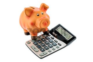 Sparschwein und Taschenrechner