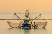 Fishing Boat with Nets at Wadden Sea in Evening Light, North Sea, Germany