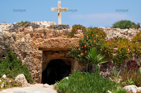 The small catacomb church of Ayia Thekla (Agia Thekla).  Ayia Napa. Cyprus