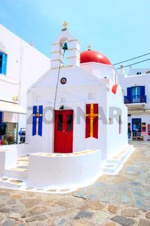 Mykonos chapel street view in Greece, Cyclades