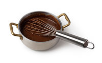 ladle with liquid chocolate
