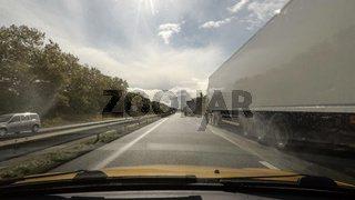 Driving on highway point of view