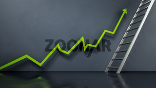 Rising sales arrow leading to the ladder. Business and marketing concept. 3D illustration