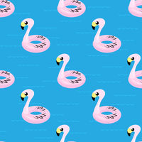 Inflatable Pink Flamingo Toy Seamless Pattern on Blue. Swimming Pool Ring for Kids. Rubber Tropical Bird Shape