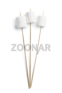 White sweet marshmallows candy on a wooden sticks