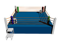 Boxing ring with ropes and stair