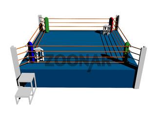 Boxring mit Seilen und Aufgang