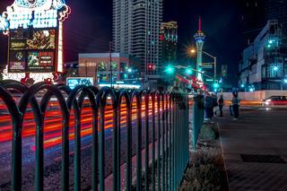 night scenes on the streets of las vegas strip