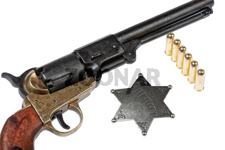 Old Revolver, Sheriff Star And Bullets
