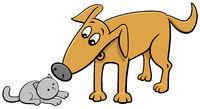 funny dog and little kitten cartoon illustration