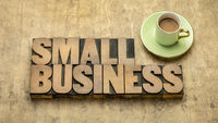 small business word abstract in wood type