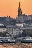 Beautiful sunset view to Matthias Church in Budapest, Hungary.