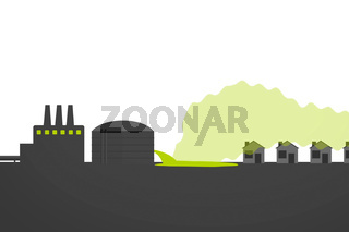 Illustration of environmental pollution from refinery. Hydrocarbon spill and gas.