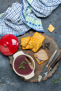 Chicken liver pate with cherry jelly.