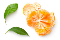 Peeled Mandarine With Green Leaves Isolated