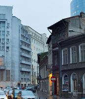 Bucharest street in rain. Romania