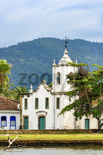 White church near the sea in the ancient and historic city of Paraty