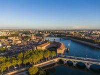 Aerial view of the Toulouse city center, Saint Joseph Dome and River Garonne, France